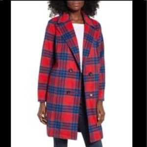 BP double breasted red plaid trench coat sz Medium